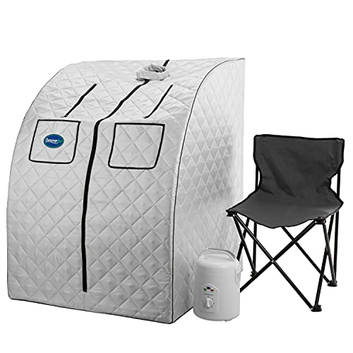 Durasage Oversized Portable Steam Sauna Spa for Weight Loss, Detox, Relaxation at Home, 60 Minute Timer, 800 Watt Steam Generator, Chair Included, 1.5 Year Warranty (Silver)