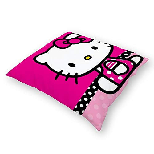 Throw Pillowcase Plush Pillowcase Super Soft Pillow Cover Case For Holding Pillow Double-Sided Hello Kitty666 (18''×18'')