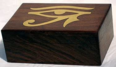Raven Blackwood Imports Fortune Telling Toy Tarot Card Box Storage Egyptian Horus Eye Brass Inlaid Handcrafted Wood 4