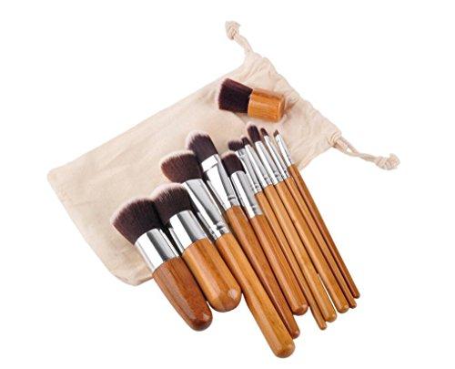 Brosses de maquillage Pinceau de bambou Brosses de maquillage avec cosmétiques Pinceaux Sac de voyage Ensemble de brosse à maquillage naturel Kabuki doux Ensemble de brosse à maquillage 11 pièces