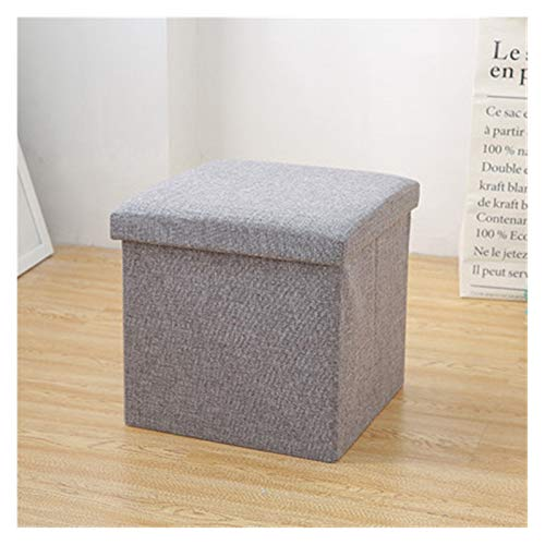 Storage Ottoman Folding Storage Footstool, Single Folding Storage Pouffe Cube Foot Stool Seat Footstool Toy Box with Removable Lid(Gray) Storage Ottoman Footrest (Color : Gray, Size : 493131cm)