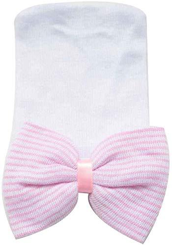 Aoyo 0-6 Meses bebé recién Nacido Sombreros de algodón Beanie Arco Suave de Punto de Neumáticos rayados Caps for bebé Niños Bebe Fotografía Sombreros (Color : White Hat Pink, Size : 12 * 10cm)
