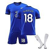 Sistema de Camiseta de fútbol Transpirable, Werner 11# Giroud 18# Jersey, chándales de fútbol de niños, poliéster de Secado rápido de fútbol de Manga Corta Ropa de blue18-28