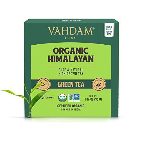 VAHDAM, Hojas de te verde organico de Himalaya (30 bolsitas de te), te de perdida de peso natural 100%, te de desintoxicacion, te adelgazante, hojas verdes de te suelto - 15 Ct (paquete de 2)
