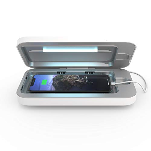 PhoneSoap 3 UV Cell Phone Sanitizer and Dual Universal Cell Phone Charger | Patented and Clinically Proven 360 Degree UV Light Sanitizer | Cleans and Charges All Phones - White