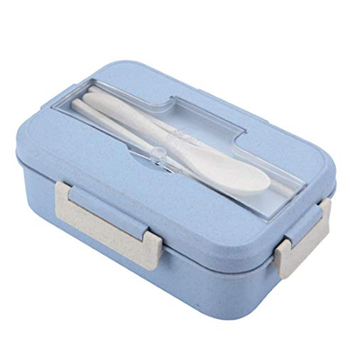 O-Kinee Bento Box Lunch Box with 3 Compartments and Cutlery, Lunch Box Microwave Heating (Blau)