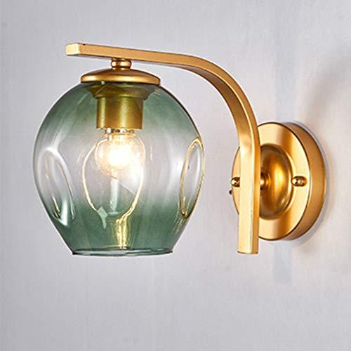 WJPL Moderne wandverlichting met kleurverloop lampenkap van glas, gouden metalen lichtstatief, creatieve wandlamp moderne verlichting voor woonkamer slaapkamer wandlamp 85-265V/E27
