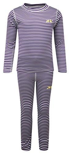 Kozi Kidz Girls' Vasa Stripe Base Layer, Purple, 120 cm