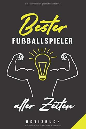 Bester Fußballspieler Aller Zeiten Notizbuch: 120 Seiten Punkteraster Dotted Notizheft für die Arbeit Oder Studium Ausbildung (6x9) Ca. A5 Format Softcover Schwarz