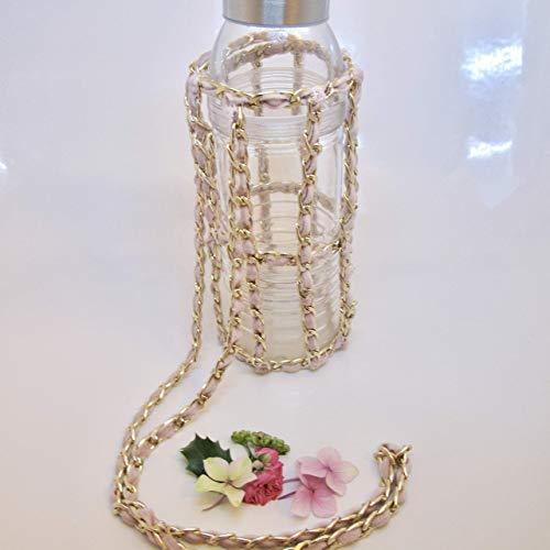 California Vintage Rose Gold, Baby Blue, Violet Velvet Crochet Chain Water Bottle Holder Cross Body Sling-Standard Size For your Reusable Bottle, Makes Great Gift