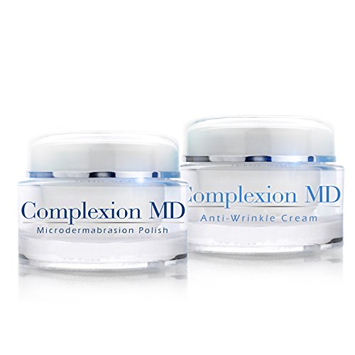 Complexion MD Anti Aging 2 Step Skin Care System (Bundle) - Microdermabrasion Scrub (1.69 oz) + Anti Wrinkle Cream (1 oz) - Reduce Fine Lines & Wrinkles - with Peptides & Hyaluronic Acid