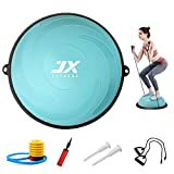 JX FITNESS 58cm Balance Half Ball Trainer, Stability Exercise Yoga Half Ball with Resistance Bands & Pump - Improve Core and Ab Strength with Full Body Home Gym Workouts Or Fitness Training