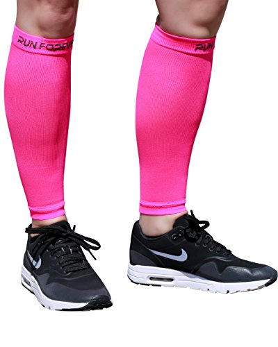 Calf Compression Sleeves - Leg Compression Socks for Runners, Shin Splint, Varicose Vein & Calf Pain Relief - Calf Guard Great for Running, Cycling, Maternity, Travel, Nurses (Pink, Large)