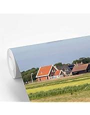 Fotobehang vinyl Ameland - Schapen en een molen op Ameland 420x280 cm