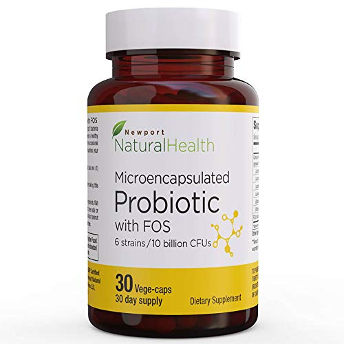 Probiotic With FOS: Healthy Digestion Probiotic With Microencapsulation, Promotes Regularity, Probiotic Immune Support, Energy, 10 Billion CFUs, 6 Strains Of Live Bacteria. 30 Veg-caps (30-day Supply)