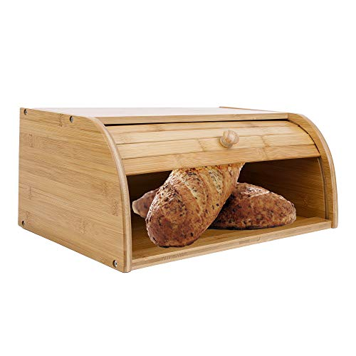TOLEAD A Large Natural Bamboo Roll Top Bread Bin for Kitchen Homemade Food Keep Fresh Storage Wood Bin Basket 41x 27 x 17cm