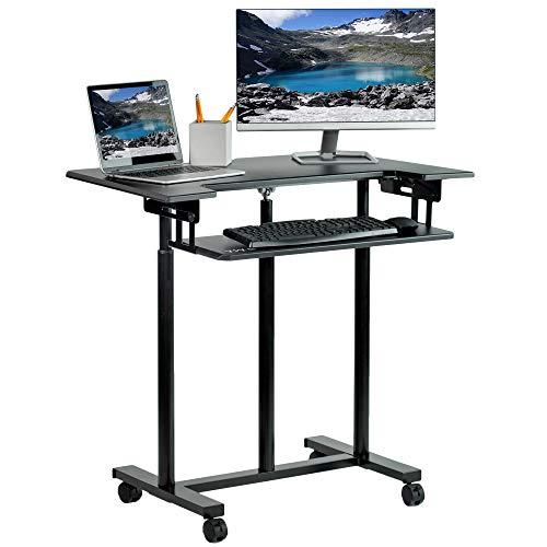 VIVO Mobile Height Adjustable Table, Stand Up Desk Cart with Sliding Keyboard Tray, Computer Workstation, Rolling Presentation Cart, Black, CART-V06A