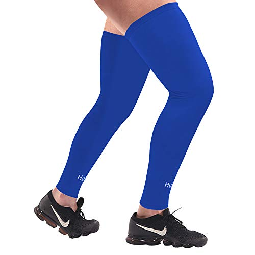 Sports Compression UV Long Leg Sleeves in Running Basketball Cycling (Black White, 1 Pair) (BLUE WITH LOGO, M)