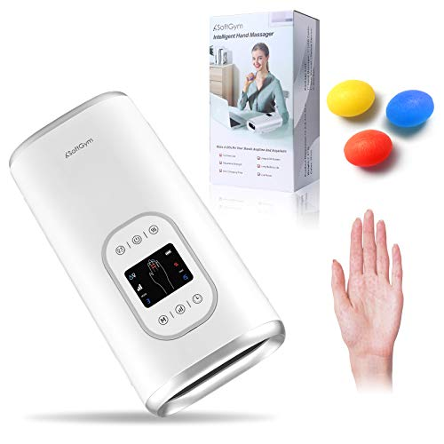 Cordless Electric Hand Massager Machine with Heat - Compression Air Pressure Point Therapy Massager for Arthritis, Carpal Tunnel, Pain Relief & Hand, Wrist, Palm and Finger Massager (White)