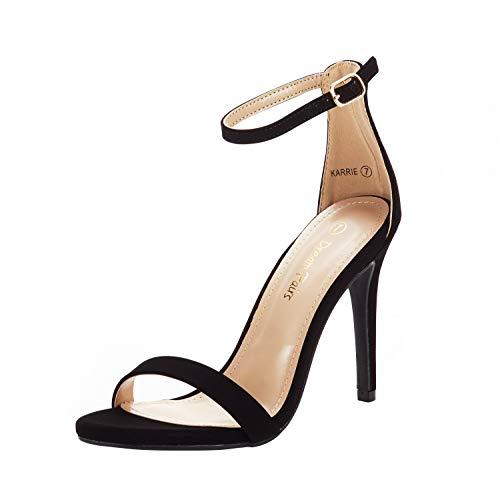 DREAM PAIRS Women's Karrie Black Nubuck High Stiletto Pump Heeled Sandals Size 7 B(M) US