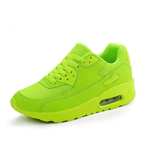 ASMCY Mujeres Al Aire Libre Entrenadores Colchón de Aire Zapatillas, Ligero Respirable Caminando Casual Moda Zapatos para Correr para Gimnasio Deporte Fitness y Jogging,Verde,EU38