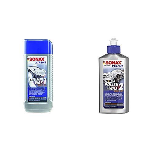 SONAX Xtreme BrilliantWax 1 Hybrid NPT, 250 ml & Xtreme Polish+Wax 2 Hybrid NPT (250 ml) schonende Politur mit mittlerer Wirkung für regelmäßig gepflegte Lacke | Art-Nr. 02071000