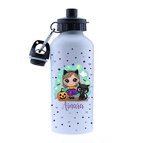 Kembilove - Cantimplora Halloween de Bruja Personalizada con Nombre niña – Botella de Aluminio Personalizada con el Nombre del Niño o Niña – Capacidad 500 ml peques de Bruja Modelo 1
