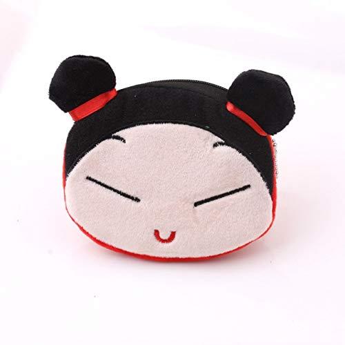 Soft plush panda dog rabbit monkey cartoon lady coin purse mini cute zipper girl coin purse wallet key wallet-Red Eva