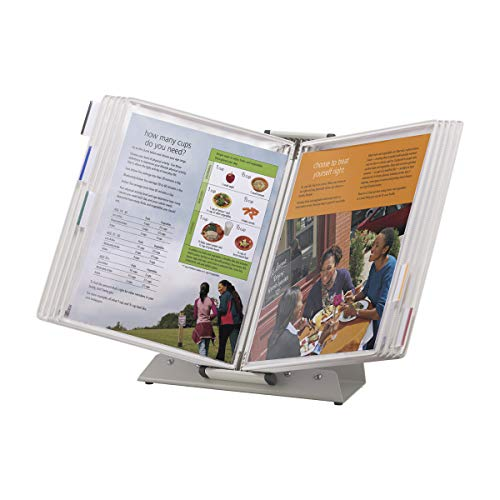 TARIFOLD Premium Desktop Reference System with 10 Double-Sided Antimicrobial Display Pockets White 20 Sheet Capacity Letter-Size DA221