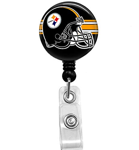 Steelers Football Badge Reel, Retractable Name Card Badge Holder with Alligator Clip, 24in Nylon Cord, Medical MD RN Nurse Badge ID, Badge Holder, ID Holder, Office Employee Name Badge