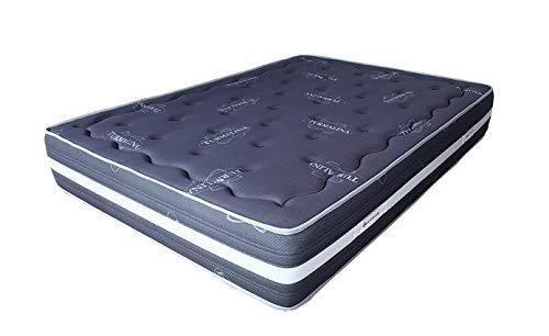 ECCOX - Colchón Viscoelástico Turmalina Grey - Altura 25cm - Viscoelástica con Tejido Strech Turmalina - Núcleo Ultracel HR de Alta Densidad - Firmeza Alta (150x190 cm)