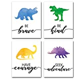 """Watercolor Dinosaur Art Print- Animals Dinosaur Inspirational Quote Canvas Wall Art-(8""""X10""""X4 pieces, Unframed)-Perfect for Nursery Bedroom Decoration"""