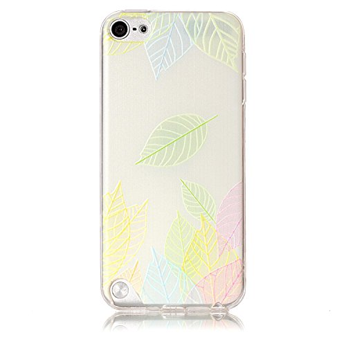 Coque iPod Touch 5G/6G, iPod Touch 5G/6G Téléphone Coque, iPod Touch 5G/6G Étui, Anlike Flexible protection en Soft TPU Silicone Shell Etui Housse de Protection Coque Etui Silicone Transparente case cover pour [iPod Touch 5G/6G] - Feuilles