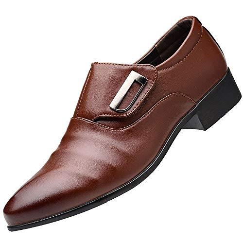 riou Zapatos Casuales de Hombre con Cordones Negocios Zapatos Oxford Moda Cuero Puntiagudos Zapatos Flojos Ocasionales Oficina Zapatos Planos 38-47