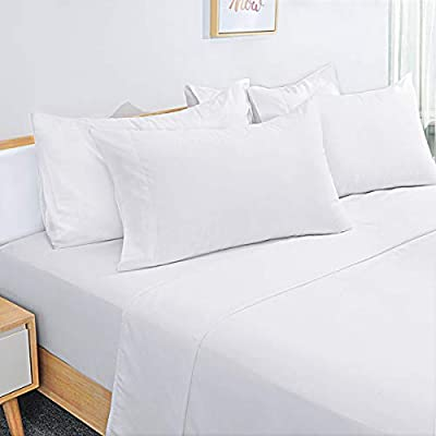 HOMEIDEAS 6 Piece Bed Sheets Set Extra Soft Brushed Microfiber 1800 Bedding Sheets Deep Pocket, Wrinkle & Fade Free (Full,White)
