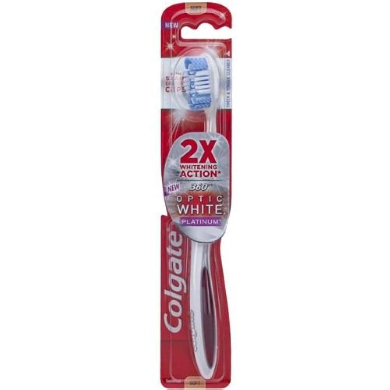 オフセット強要確認するColgate オプティックホワイトコンパクトヘッドミディアム毛の歯ブラシプラスホワイトニングペンジェル - ケースあたり6。