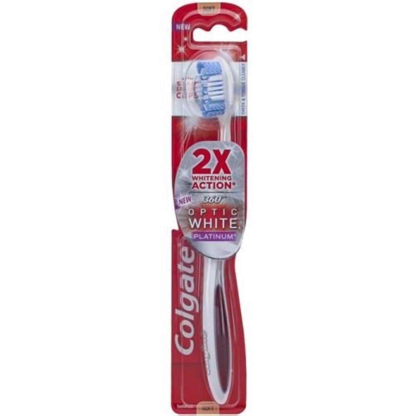 水平精度招待Colgate オプティックホワイトコンパクトヘッドミディアム毛の歯ブラシプラスホワイトニングペンジェル - ケースあたり6。
