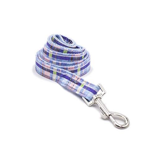 DealMux - Collar para perro, bonito y duradero, con rayas azules, correa extensible para perros, correas de entrenamiento profesional para perros grandes, cordón de nailon resistente para collares me