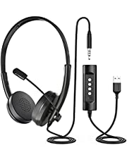 Newaner PC Headset USB/3.5mm, koptelefoon met microfoon, Computer Headphones wired with Noise Cancelling mic, Telephone Headsets for Telework Gaming xbox one ps4 ps5 Skype Voip Chat Teamspeak Laptop