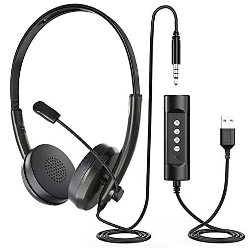 Newaner Auriculares PC con Cable y Micrófono, Auriculares Diadema Telefono USB/3.5mm, Cascos...