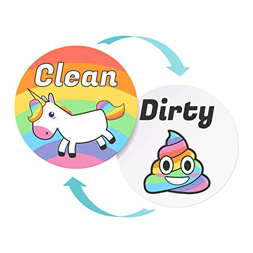 Emoji and Unicorn Clean Dirty Dishwasher Magnet Sign  Kitchen Label for Home Organization  Funny Novelty Gag Gifts Under 10 Dollars  Double Sided Emoji Updated 35 Inch