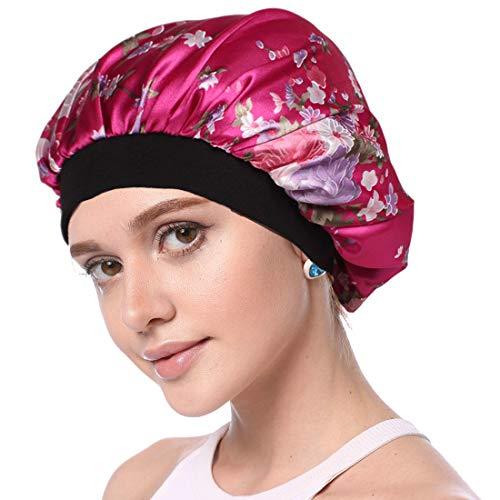 Simoda Satin Floral Night Cap für lockiges Haar Elastisches Band Schlafmütze Haarpflege Satin Haube (#4)