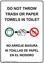 Do Not Throw Trash Or Paper Towels in Toilet Bilingual Label Decal, 7x5 inch Vinyl for Restrooms by ComplianceSigns