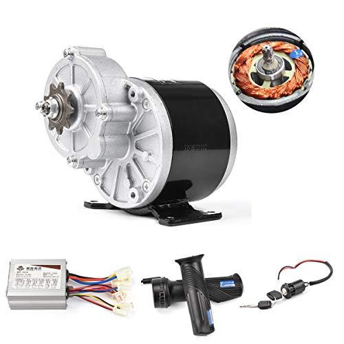 24V 36V 350W Bürstenelektromotor 3850 U/min Untersetzungsmotor mit DC-Bürstensteuerung Lenker Gaspedal E-Lock E-Bike-Umrüstsatz für Elektroroller Go Kart Dreirad Moped (24V 350W Brushed Motor Kit)