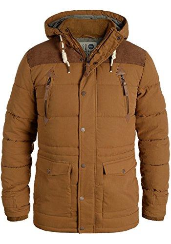 !Solid Dry Long Herren Jacke Parka Mantel Winterjacke gefüttert mit Stehkragen und Abnehmbarer Kapuze, Größe:M, Farbe:Cinnamon (5056)