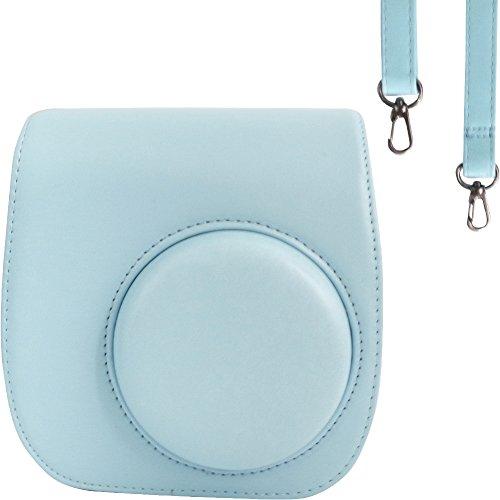 Taschen/Hülle für Fujifilm Instax Mini 9/8 / 8+ Instant Film Kamera Ice Blue. Vintage Compact Schutztasche. Mit verstellbarem Schultergurt & Taschen. Von SAIKA