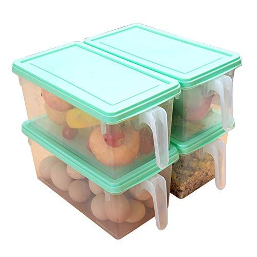 Juego De 4 Caja De Almacenamiento Para Frigorífico Caja De Congelador De Alimentos Caja De Almacenamiento Para Mantenimiento Fresco Con Asas Y Tapas Para Casa Cocin(Size:24.5x12x13cm-4pcs,Color:verde)