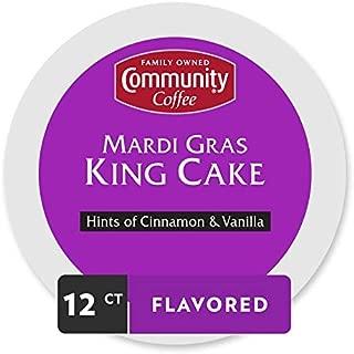 Community Coffee Mardi Gras King Cake Flavored Medium Roast Single Serve 12 Ct Box, Compatible with Keurig 2.0 K Cup Brewers, Medium Full Body Hints of Cinnamon and Vanilla, 100% Arabica Coffee Beans