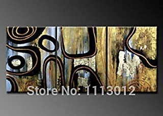 DIU Hand Painted Black Modern Abstract Line Lettre Oil Painting Canvas 3 Panel Art Set Home Decoration For Living Room Wal...
