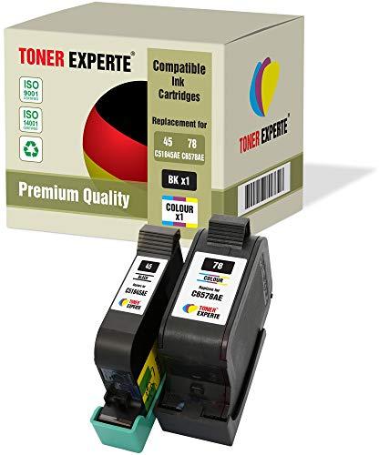2 XL TONER EXPERTE® Druckerpatronen kompatibel für HP 45 78 Copier 180 280 Deskjet 1180c 1220c 1280 6120 9300 930c 959c 970cxi Fax 1220 Officejet 1170 G55 G85 G95 K60 K80 (Schwarz, Farbe)